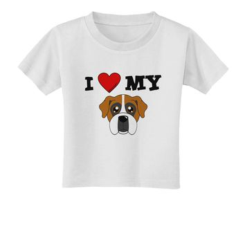 I Heart My - Cute Boxer Dog Toddler T-Shirt by TooLoud