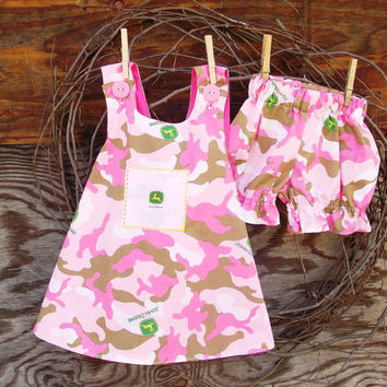 Baby dress, cross back, Pink with bloomers size 12 months, Camo and tractor, reversible, applique