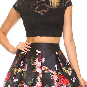Teeze Me | Two-Piece Cap Sleeve Illusion Lace Crop Top and Floral Pleated Party Dress  | Black/Pink