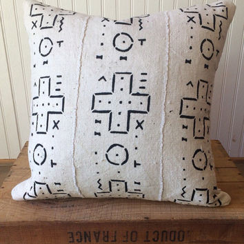 "African Mud Cloth Pillow Cover 18"" inch White"