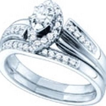 14kt White Gold Womens Marquise Diamond Bridal Wedding Engagement Ring Band Set 1/3 Cttw