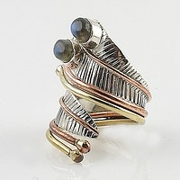 Labradorite Three Tone Sterling Silver Adjustable Leaf Wrap Ring