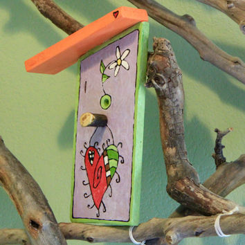 Hanging Heart Birdhouse Sign, Hand Burned, Hand Painted by ReverieLife