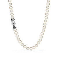 "David Yurman - 8MM-8.5MM Freshwater White Pearl, Diamond & Sterling Silver Buckle Strand Necklace/72"" - Saks Fifth Avenue Mobile"