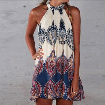 Womens Sleeveless Halterneck with All-Over Print and Back Keyhole Mini Dress Gift