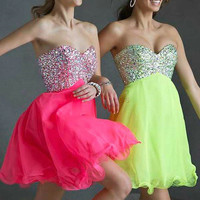 short sweetheart tulle homecoming dresses with sequins    cheap prom dress custom colors homecoming gowns    cocktail dress