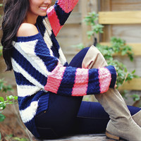 Railroad Crossing Sweater: Navy/Neon Pink | Hope's