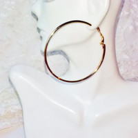 Large Gold Hoop Earrings Vintage Costume Jewelry Mod Hip Hop Hippie Hipster Rocker Holiday Birthday Party Stud Pierced Earrings