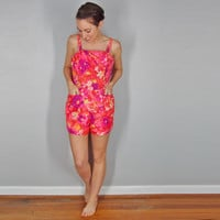 Spring Floral 1950s Playsuit, Coral Pink Paradise Hawaii, Medium