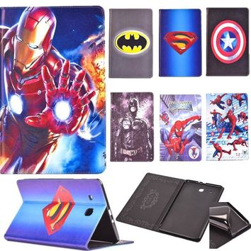 Super Heroes Spider-Man The Avengers Iron Man Batman flip Stand tablet case cover for Samsung galaxy Tab E 9.6 T560 / T561 funda