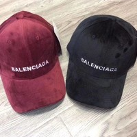 BaLenciaga Velvet Fashion Embroider Monogram Cap Hat G