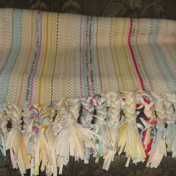 vintage handmade long hand crochet rag rug    with braided fringe sz 66 x24
