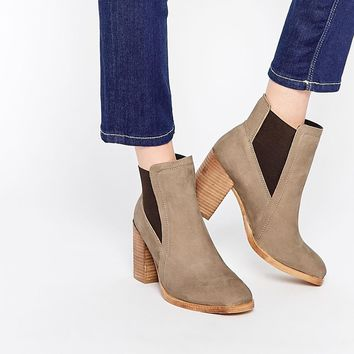 ASOS ESME Wide Fit Suede Chelsea High Ankle Boots