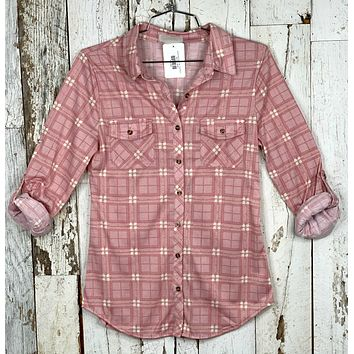 Penny Plaid Flannel Top - Blush/Ivory