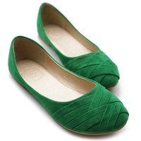 Ollio Women's Ballet Shoe Cute Casual Comfort Flat (6.5 B(M) US, Green)
