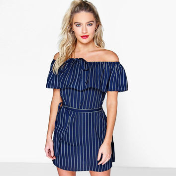 Ruffle Denim Stripes Print One Piece Dress [8096400455]