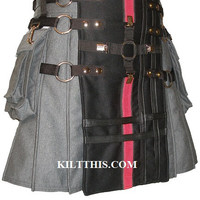Utilty Kilt Handmade Steampunk Gear Fetish Kilts Lg Cargo Pkts Interchange Parts - Adjustable - Custom