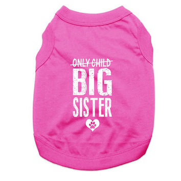 Custom Dog Tank Tops. Only Child Big Sister Dog Shirt. Large Breed Pet Clothes. Gift for Expecting Mother.