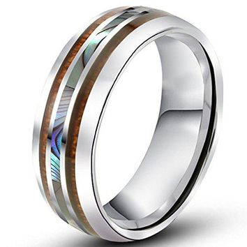 8mm Tungsten Silver Vintage Wedding Engagement White Band with Shell Koa Wood Inlay Domed Ring