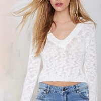 Crop 'n Roll V-Neck Sweater