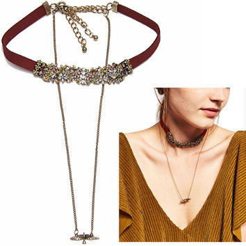 FORMU Choker Necklace Women Simplicity Boho Metal Peace Doves Charm Long Chunky Chain Statement Leather Necklace Jewelry NK830