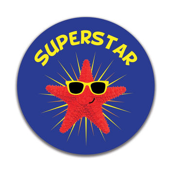 Starfish Superstar 4x4in. Round Decal Sticker