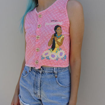 Vintage Pocahontas crop top / pink disney shirt