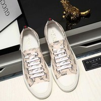 GUCCI new full printed logo men's trend lace sports shoes White