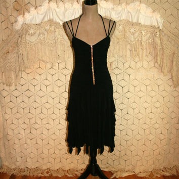Sexy Dress Black Cocktail Party Goth Club Disco Dress 80s XS Small Salsa Dress Scott McClintock Size 2 Dress Size 4 Dress Vintage Clothing