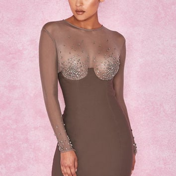 Clothing : Bodycon Dresses : 'Matrush' Taupe Crystal Embellished Tailored Mini Dress