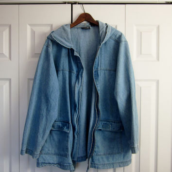 Vintage Hooded Denim Jacket Womens 2X Plus Size Zipper Front Oversized Denim Jean Jacket Hipster Grunge Blassport Jacket with Hood