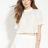 Contemporary Eyelet Crop Top