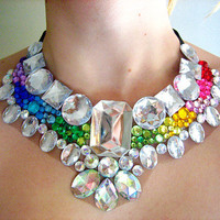 Rainbow Rhinestone Statement Necklace Egyptian by Natalie52688