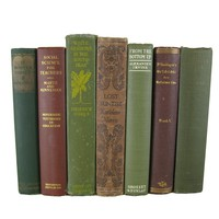 Green and Brown Book Collection for Rustic Country Decor , S/7