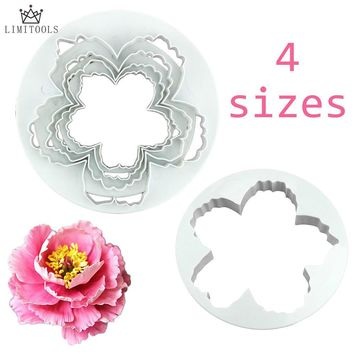 LIMITOOLS 4 pcs/lot Peony Petals Pattern Flower Plastic Paste Cake Press Set Cookie Sugar Fondant Cutter Cake Decoration