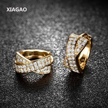 XIAGAO X Shape Amazing Flash AAA Cz Stone Pave Setting Cubic Zircon Crystal Gold-color Fashion Hoop Earrings For Women ME213
