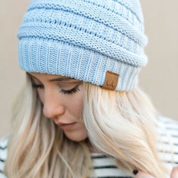 Knitted Pull On Beanie - Periwinkle Blue