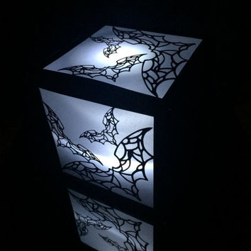 halloween bats flying cut paper lantern luminary lighted centerpiece wedding party decor box glowing walkway tealight candleholder