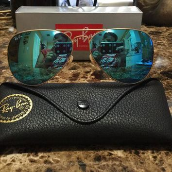 Fashion Casual RayBan Ray-Ban Aviator Gold Frame Baby Blue Lens Sunglasses RB3025 112-17BB 62mm outlet G
