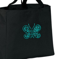 Teal Butterfly Ovarian Cancer Awareness Love Faith Courage Hope Tote Bag