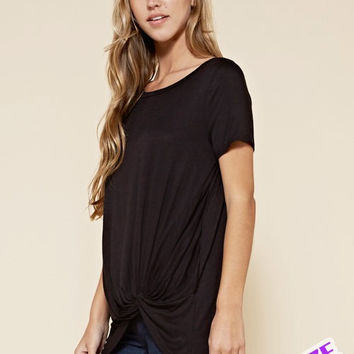 Perfectly Plus Twisted Knot Short Sleeve Top