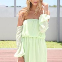 Lime Green Off the Shoulder Chiffon Dress with Elastic Waist