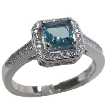 Genuine Sterling Silver Aquamarine Engagement Ring