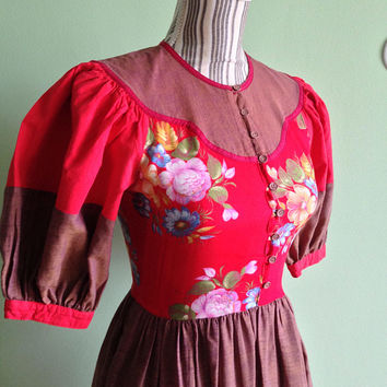 Bohemian Day Dress, Red Flower Dress, Cottage Dress, Ethnic Puff Sleeve Dress, Hippie Dress, Oktoberfest Bavarian Style Dress, Size Small