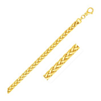 4.0mm 14K Yellow Solid Gold Diamond Cut Round Franco Chain
