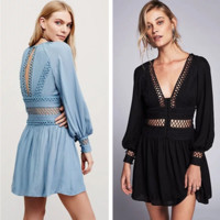 """Free People"" Fashion Retro V-Neck Hollow Lace Long Sleeve Ruffle Mini Dress"