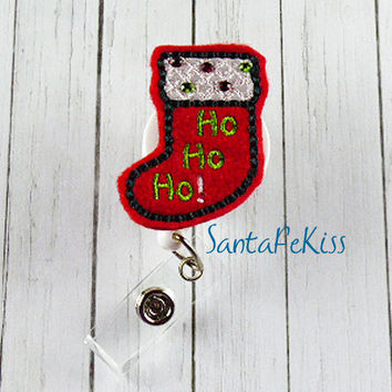 Christmas Stocking with Rhinestones Felt Badge Holder with Retractable Badge Reel. A great gift for yourself or for your favorite coworker