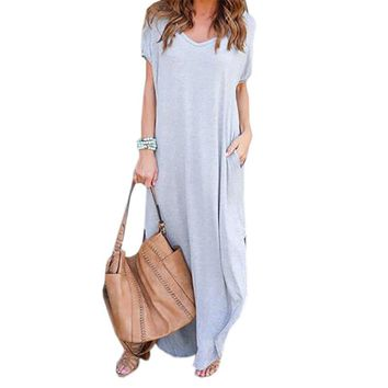 Loose Beach Casual Dresses Women Summer Long Maxi Dress 2018 Short Sleeve Pockets Sexy Side Split Plus Size  Robe GV828