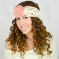 IVORY Lace Headband CORAL PEACH Wide Lace band women's headwrap boho headband rhinestone turban head wrap bridal headband wedding headbands