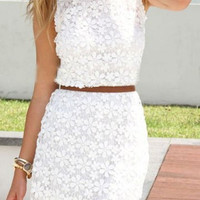 White Floral Lace Sleeveless Dress